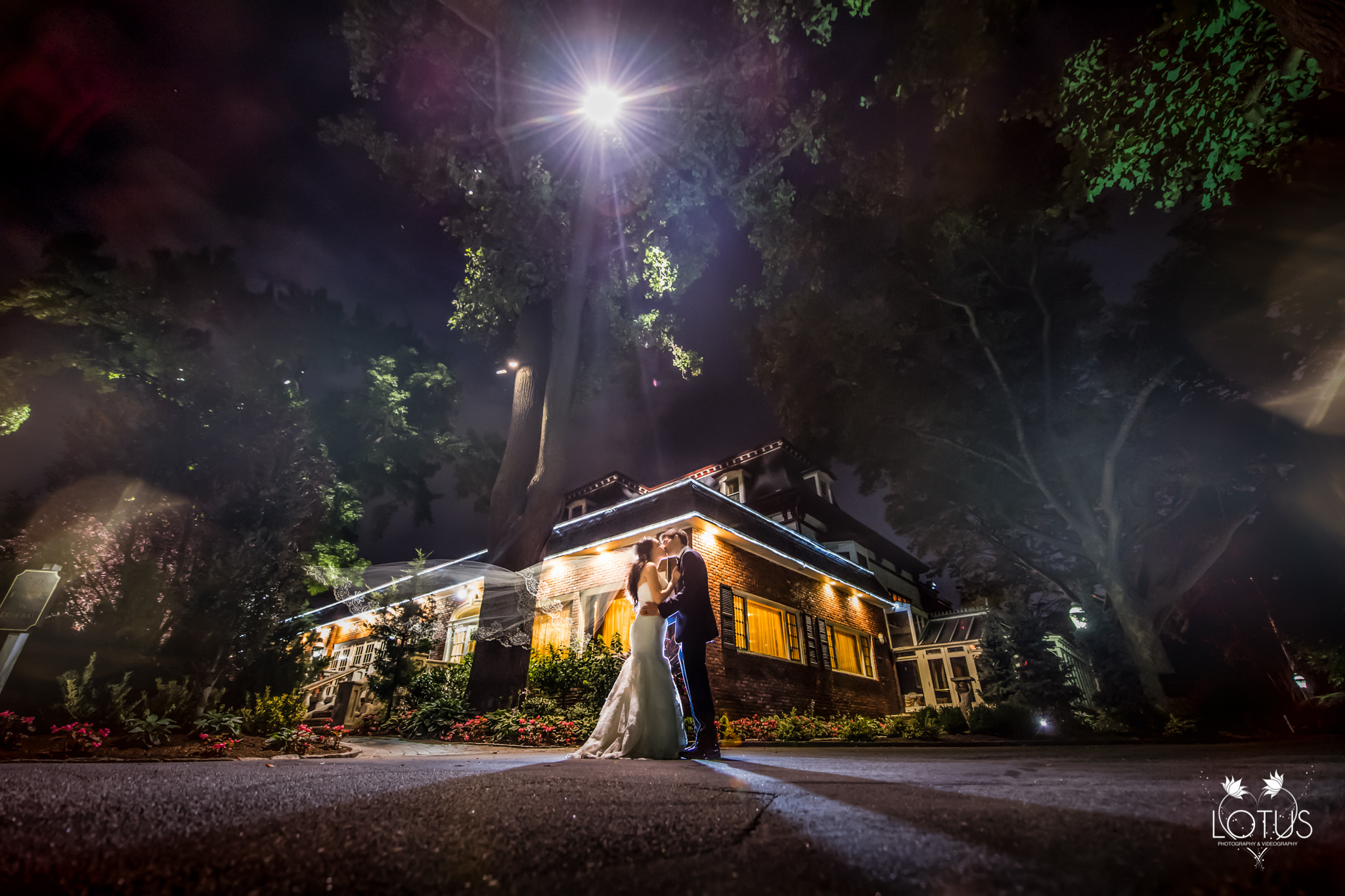 Bride and Groom at Nighttime at Westbury Manor | Lotus Wedding Photography